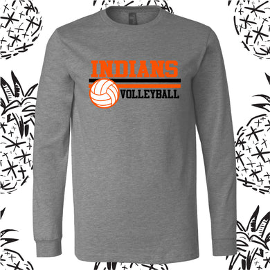 Indians Volleyball Striped Long Sleeve Tee