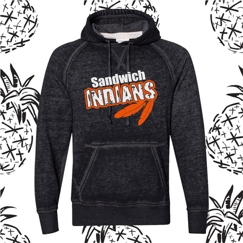 Indians Feather Acid Wash Hooded Sweatshirt