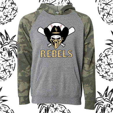 KC Rebels Camo Raglan Hooded Sweatshirt