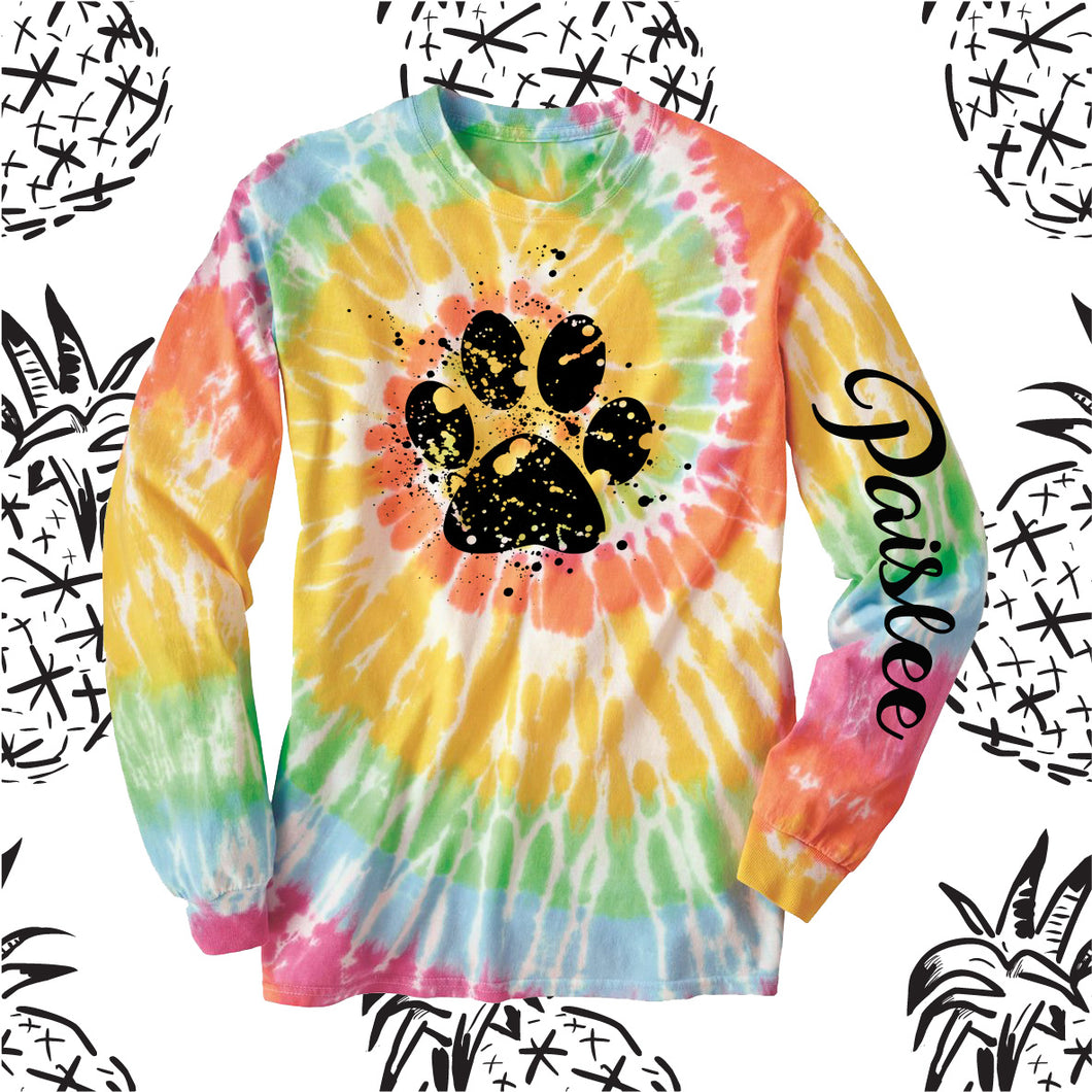 Bobcat Splatter Paw Tie Dye Long Sleeve Tee