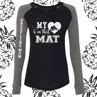 My Heart is On That Mat Women's Patch Raglan Long Sleeve Tee