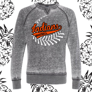 Sandwich Baseball/Softball Stitch Acid Wash Crew Neck Sweatshirt
