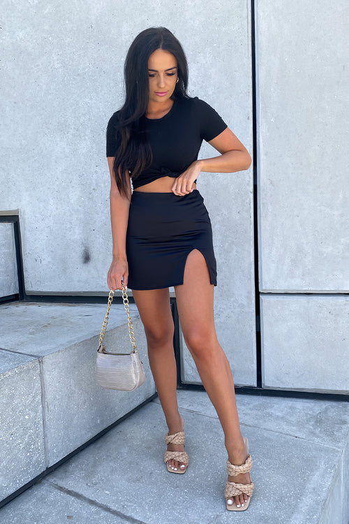 Black Satin Mini Skirt