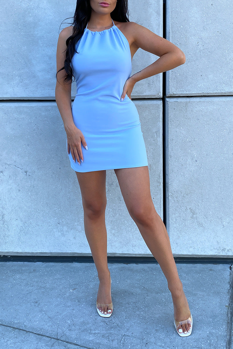 Baby Blue Low Back Halter Dress