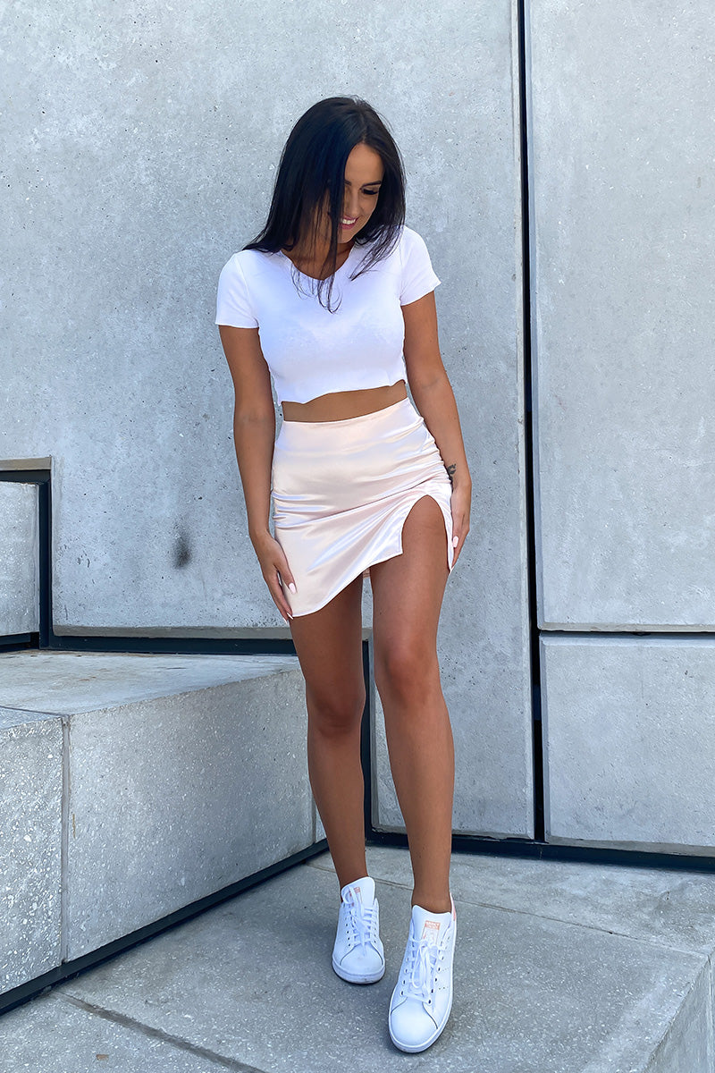Blush Satin Mini Skirt