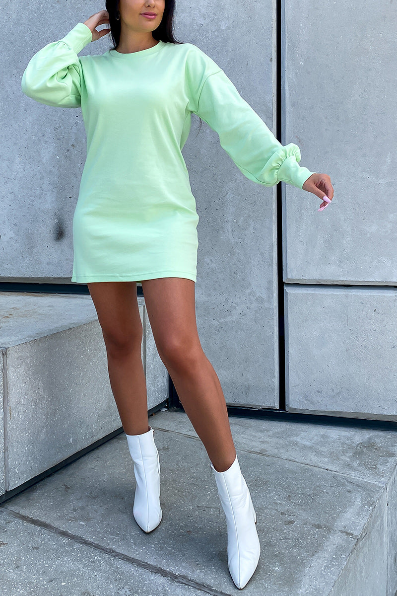 Lime Green Long Sleeve T Shirt Dress