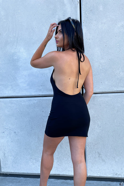 Black Low Back Halter Dress
