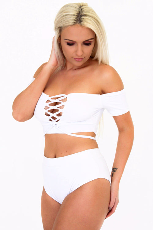 White Lace Up Front Crop Top