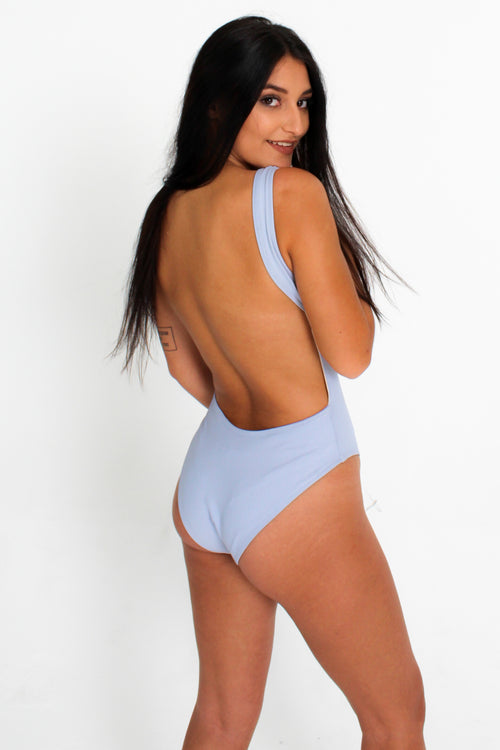Blue Plunge Neck Swimsuit