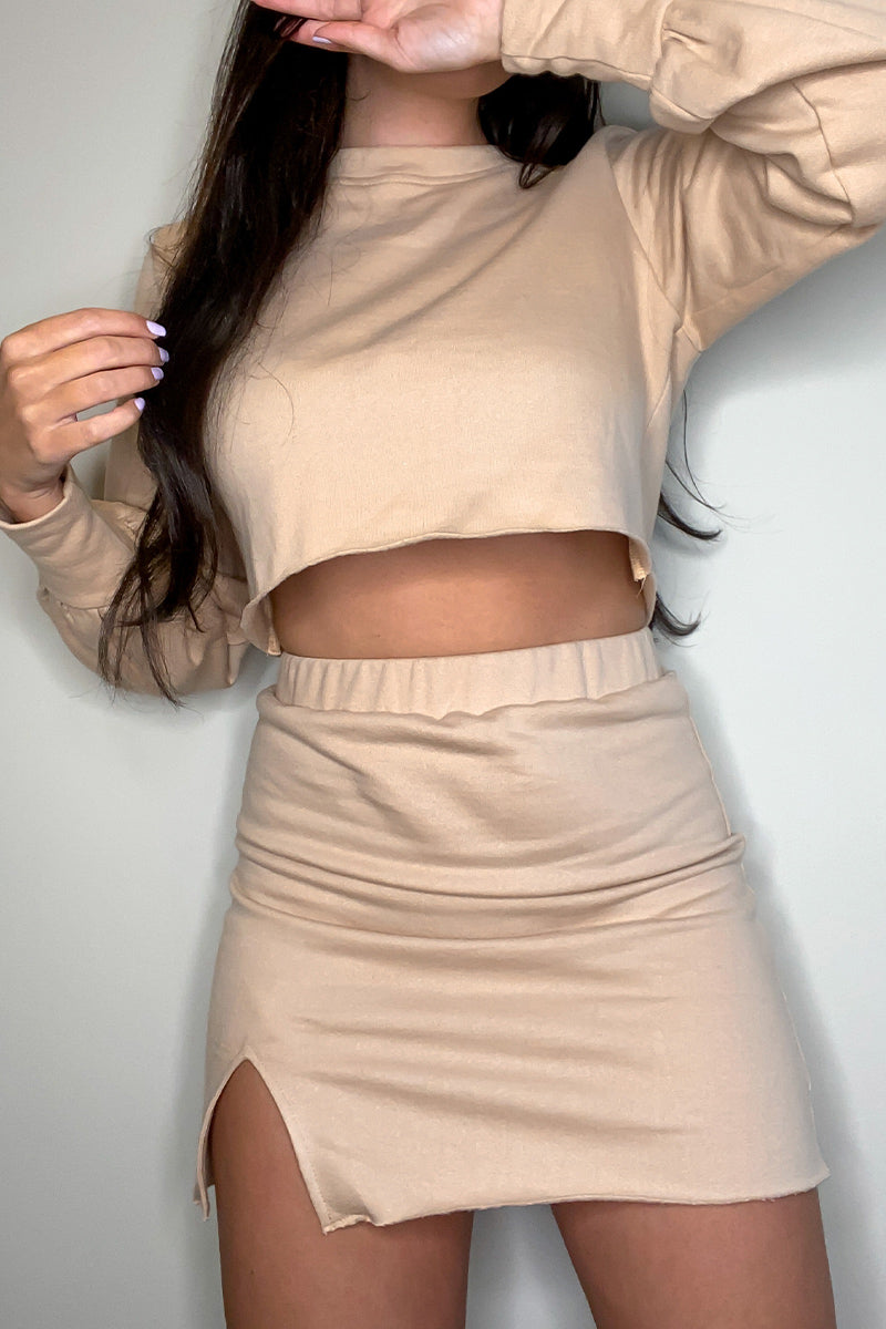 Nude Crop Sweater & Matching Slit Skirt
