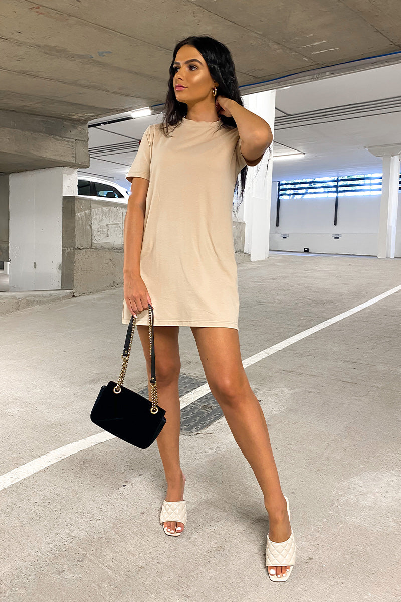 Nude Oversized T-shirt Dress