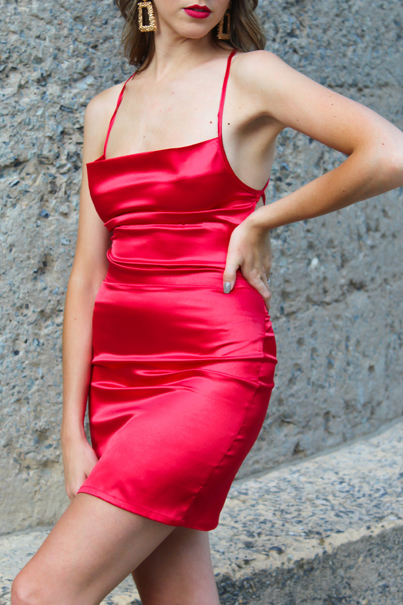 The LA Red Satin Tie Back Dress