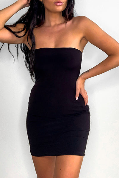 Black Bandeau Bodycon Dress