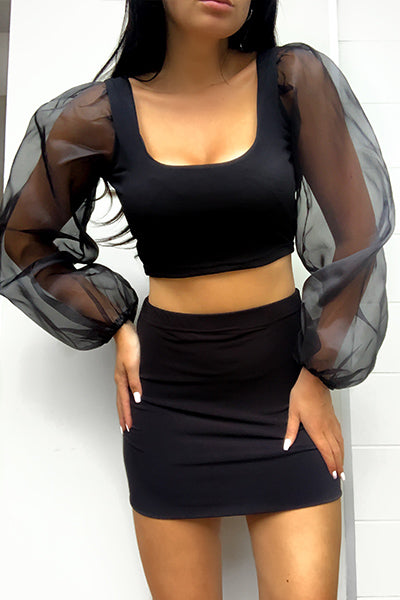 Black Organza Sleeve Crop Top