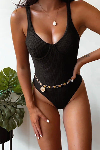 Black High Leg Underwired One Piece