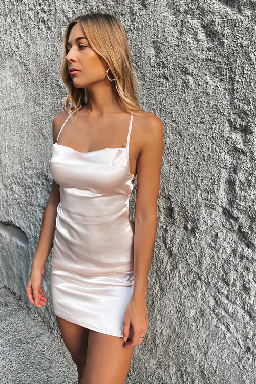 The LA Blush Satin Tie Back Dress