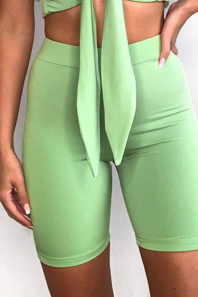 Green Bombshell Knot Top