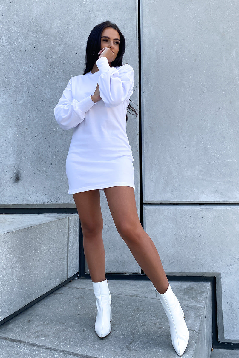 White Long Sleeve T Shirt Dress