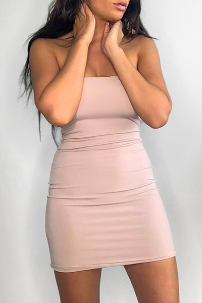 Nude Bandeau Bodycon Dress