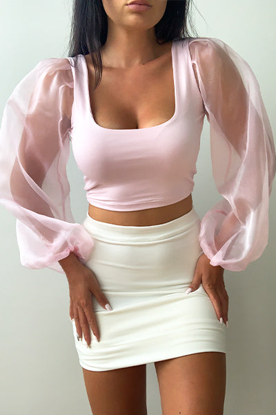 Pink Organza Crop Top