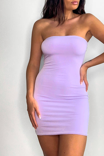Lilac Bandeau Bodycon Dress