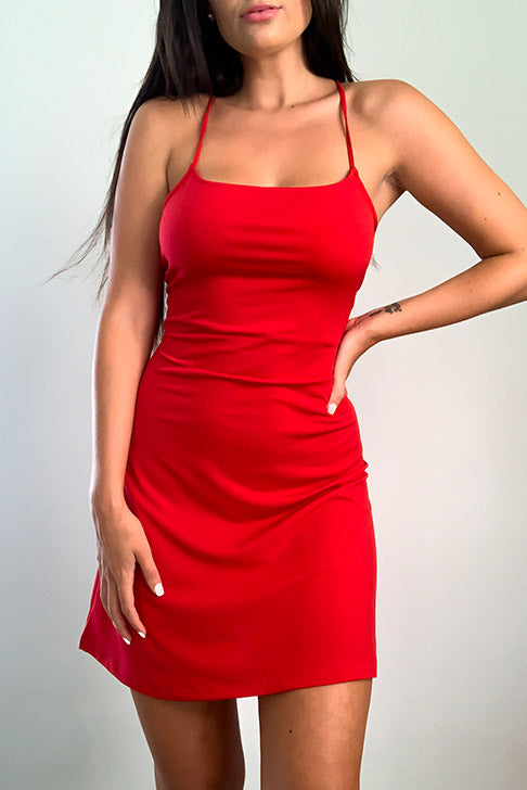 Red Lace Up Back Dress