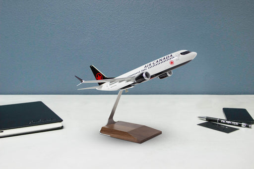 Air Canada Boeing 737 MAX 8 Desktop Model in 1/100 Scale on desktop