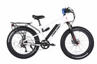 rocky road fat tire 48 volt electric e bike in white