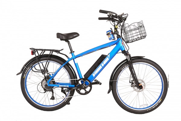 x-treme Santa Cruz 48 volt electric bike beach cruiser in blue
