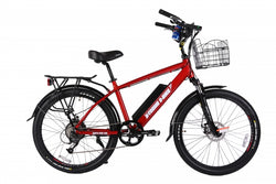x-treme laguna beach cruiser electric bike metallic red