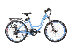 x-treme trail climber elite electric bike in baby blue