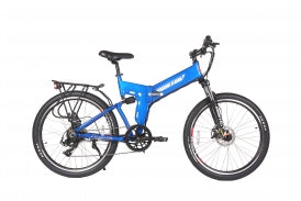 x-treme x-cursion electric bike in baby blue foldable