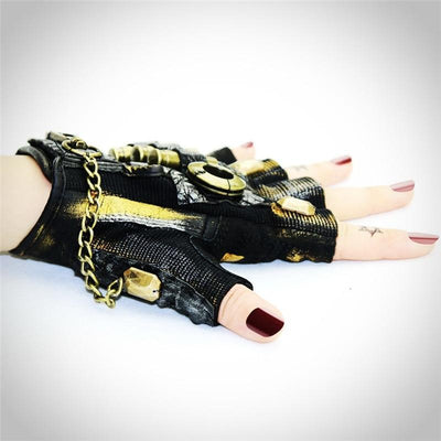 MadBurner Black Leather Fingerless Gloves with Jewels