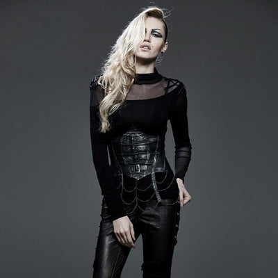 MadBurner Black Leather Underbust Corset