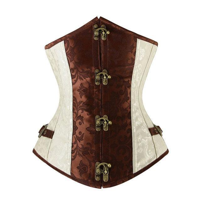 MadBurner Brown and Ivory Underbust Corset