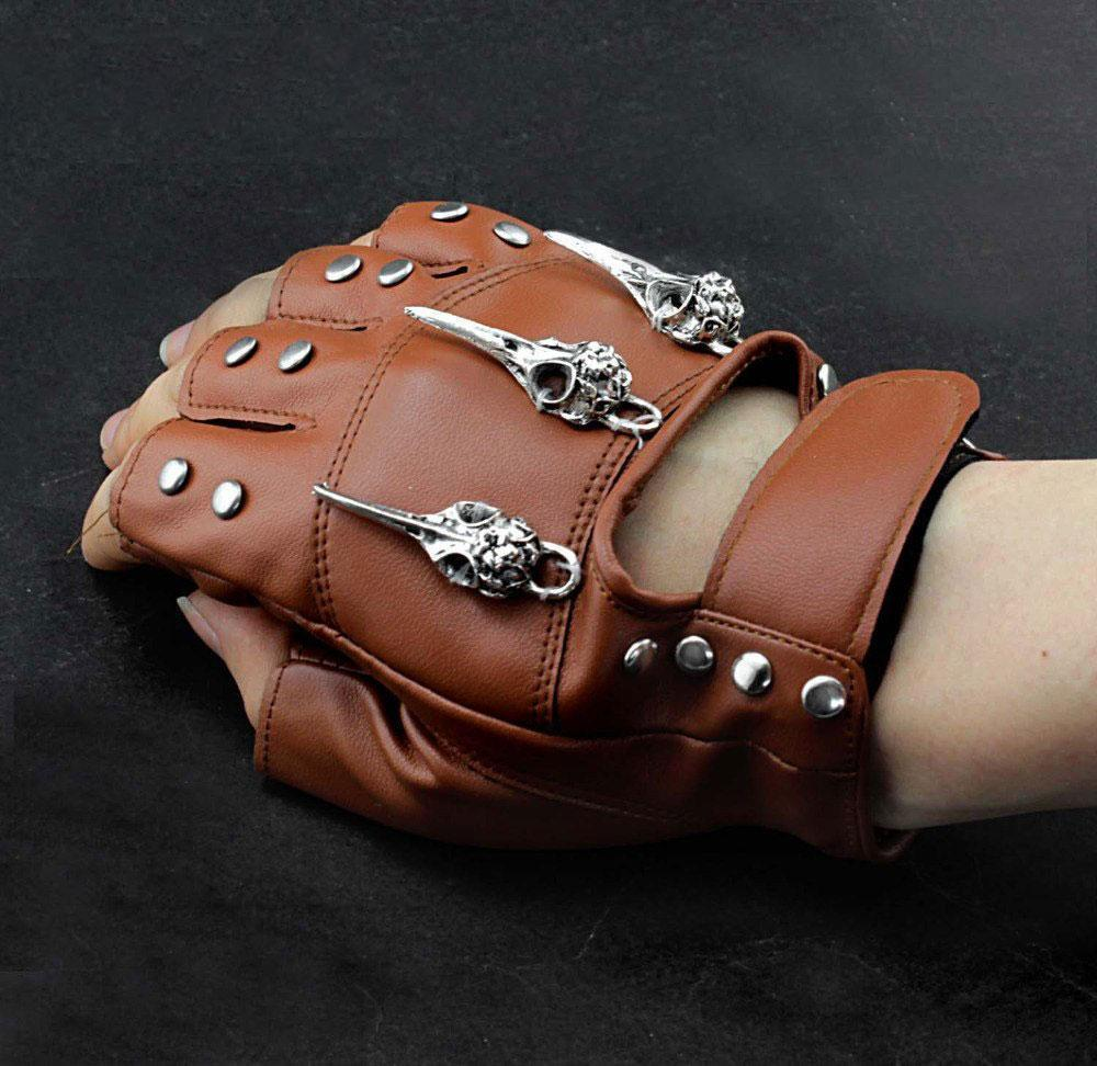 MadBurner Brown Leather Fingerless Gloves