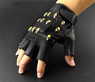 MadBurner Golden Skull Fingerless Gloves