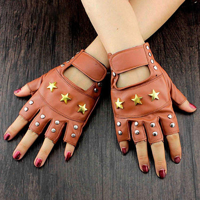 MadBurner Silver Studded Fingerless Gloves