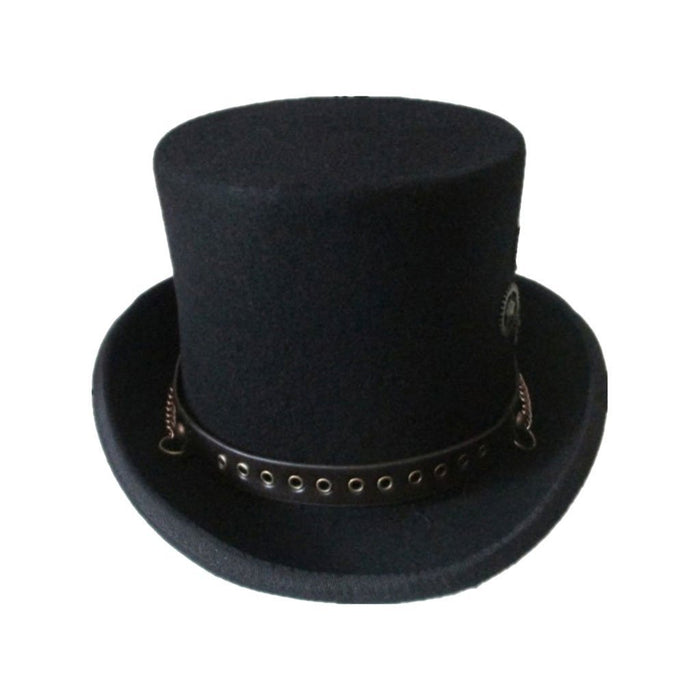 Victorian Steampunk Fashion Mad Burner Black Gears Top Hat