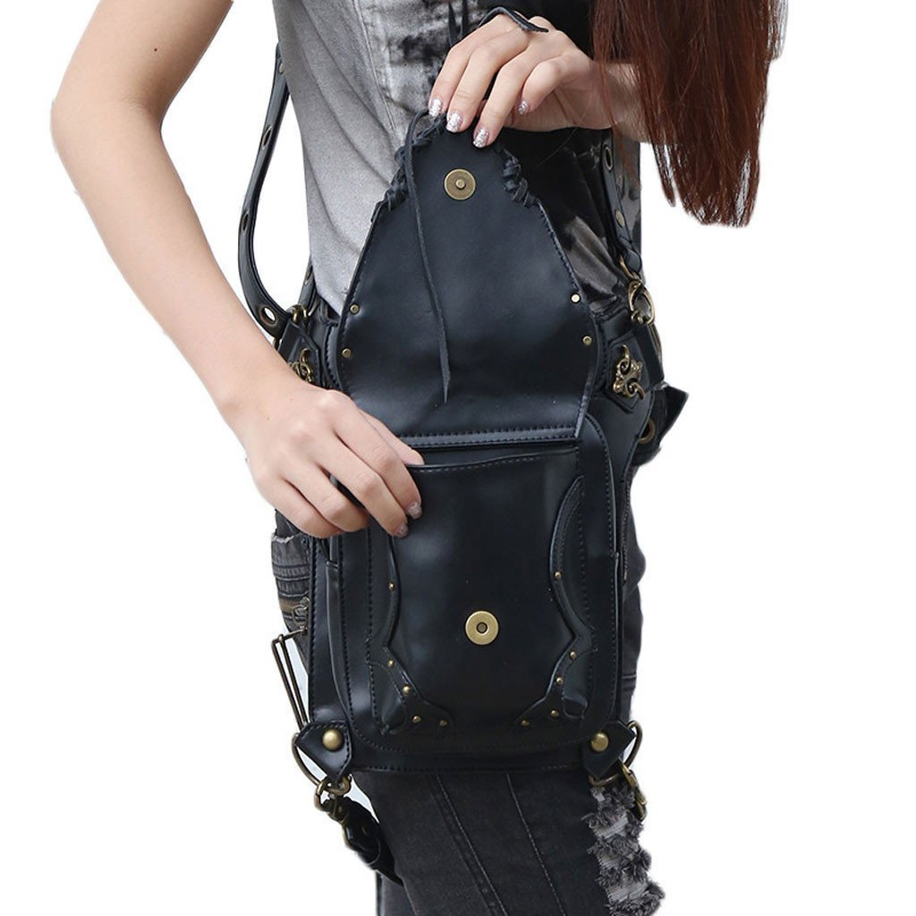 Victorian Steampunk Fashion Mad Burner Black Leather Bag