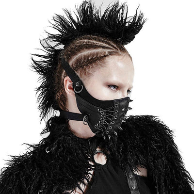 Victorian Steampunk Fashion Mad Burner Black Leather Face-Mask
