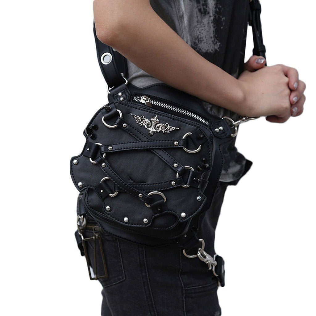 Victorian Steampunk Fashion Mad Burner Black Leather Mini Bag