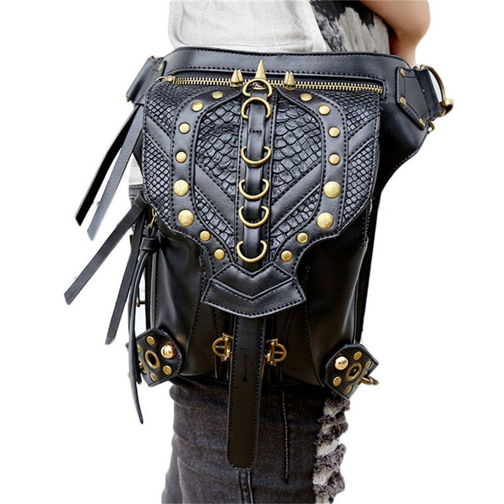 Victorian Steampunk Fashion Mad Burner Black Leather Straps Bag