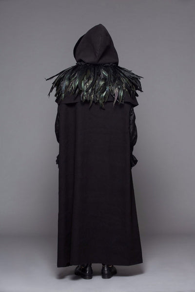 Victorian Steampunk Fashion Mad Burner Black Velvet Coat with Feather Collar