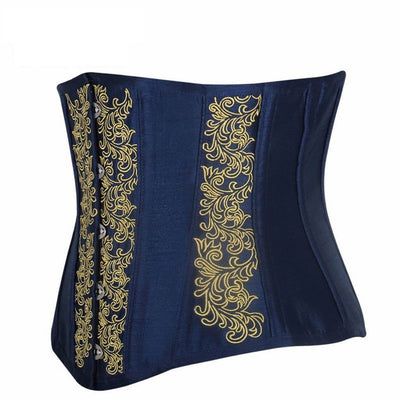 Victorian Steampunk Fashion Mad Burner Blue Floral Underbust Corset