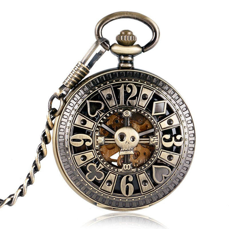Victorian Steampunk Fashion Mad Burner Bronze Skeleton Mechanical Pocket Watch