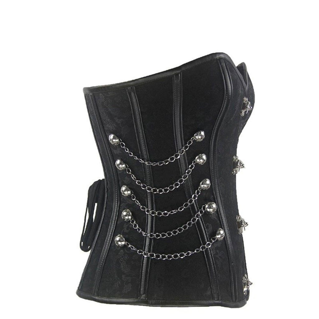 Victorian Steampunk Fashion Mad Burner Chained Buckles Corset