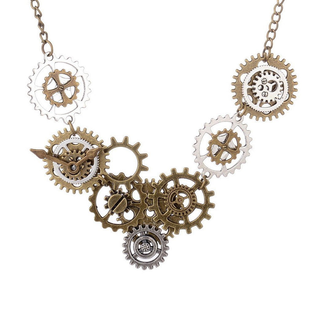 Victorian Steampunk Fashion Mad Burner Clock Gears Necklace