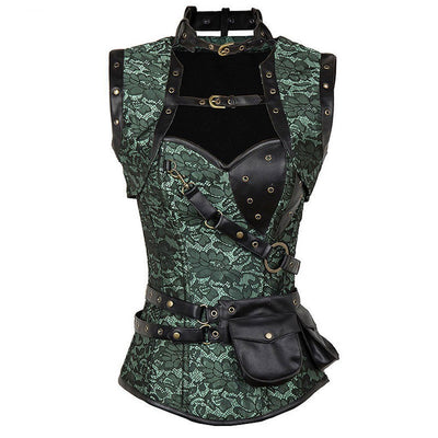 Victorian Steampunk Fashion Mad Burner Corset with Shoulder Pad and Bag