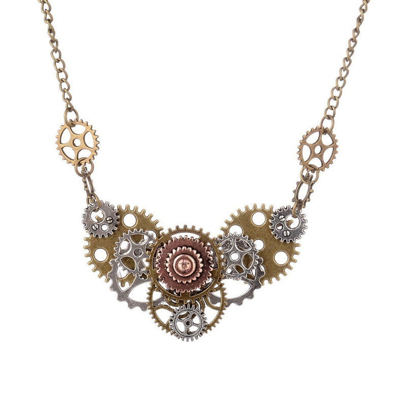 Victorian Steampunk Fashion Mad Burner Gears Necklace